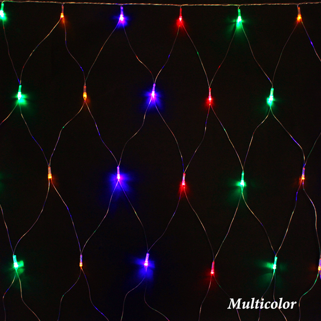 Us 9 6 8 Modes Led Net Light Waterproof 1 5 5m 96leds 7colors Christmas Lighting Holiday Party Festive Supplies Lights Eu Plug In