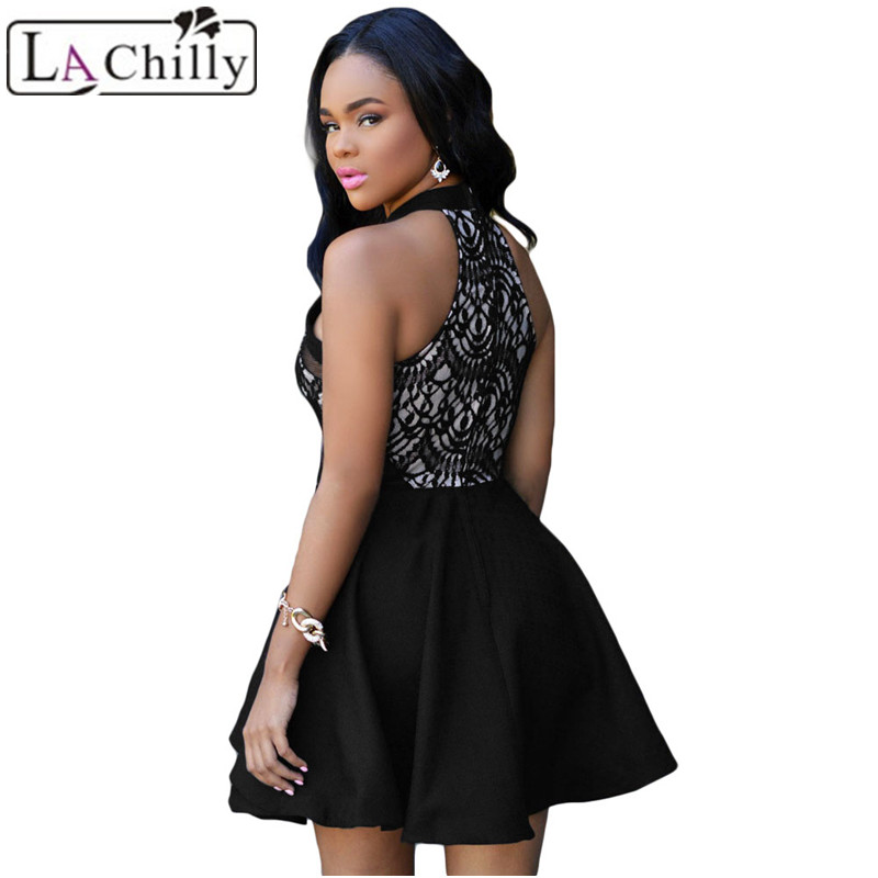5f6dc732c2a La Chilly Fashionable White Black Lace Nude Irregular Layered Skater Dress  LC22477 Hot Selling Flare Dress With Zip M L Sizes-in Dresses from Women s  ...