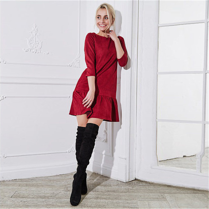 Fall 2018 Women Suede Casual Three Quarter Sleeve T Shirt Mini Dress Autumn Winter Fashion Vintage Ruffle Christmas Dresses 12