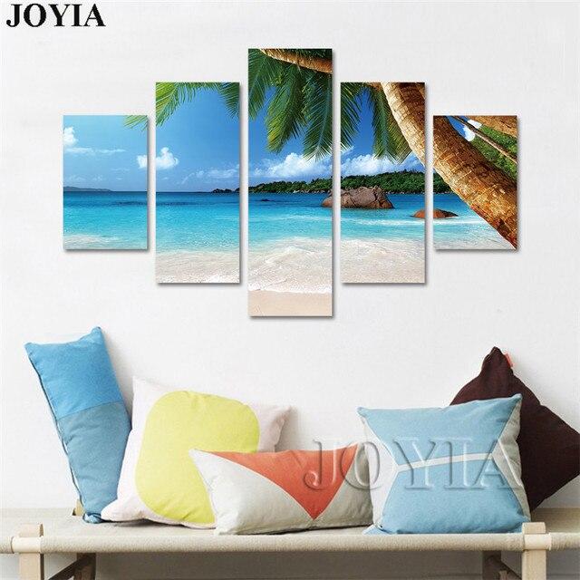 Home Decor Sea Beach Canvas Painting Set Summer Seascape Palm Tree ...