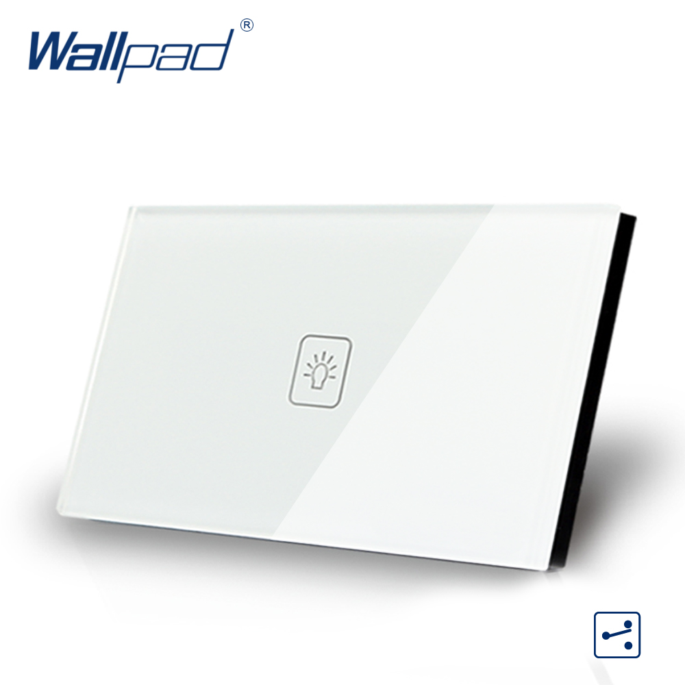 US/AU standard Wallpad Touch switch 1 gang Touch Screen Light Switch 2 way White Crystal Glass Panel Free Shipping free shipping us au standard touch switch 1 gang 2 way control crystal glass panel wall light switch kt001dus