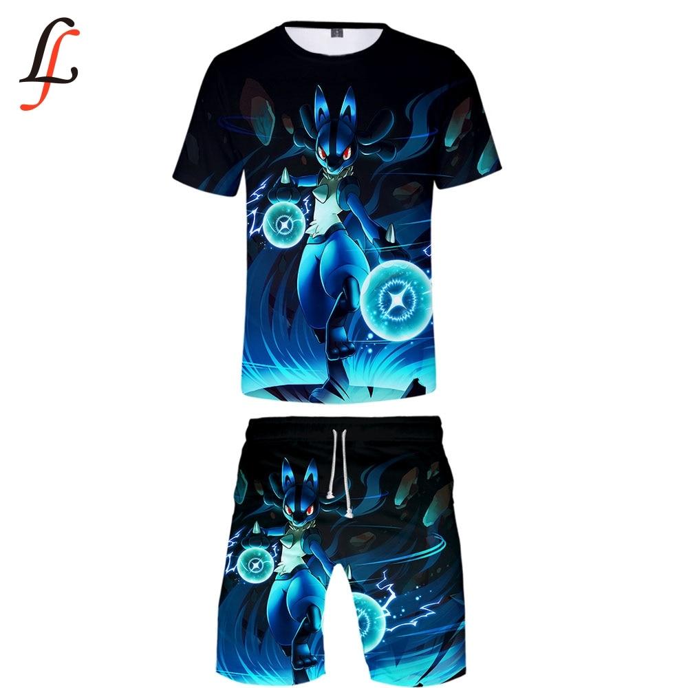 Elf Treasure Dream Pikachu 3D Casual Cool Man 2 Set Summer Popular Hip Hop Fashion High Street Baseball Shirt+Short Pants Sets
