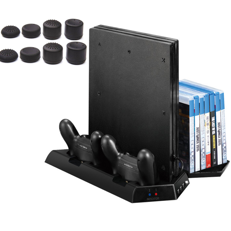 Vertical Stand for PS4 Slim /PS4/PS4 Pro with Cooling Fan 2 in 1 Controller Charging Station Game Storage 3 Port USB Hub Charger ...