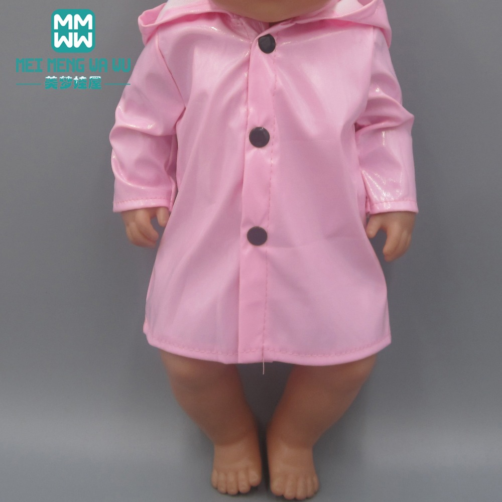 Baby Clothes For Doll Fits 43cm Toy New Born Dolls And American Doll Pink Raincoat