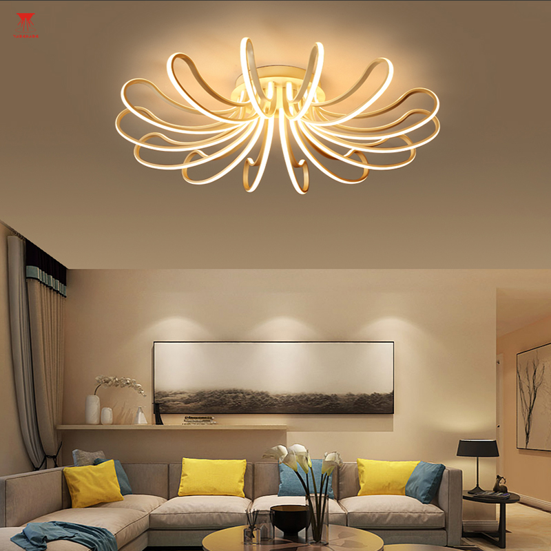 Dimming + remote control living room study bedroom, modern LED ceiling lamp, white surface mounted LED chandelier lamps noosion modern led ceiling lamp for bedroom room black and white color with crystal plafon techo iluminacion lustre de plafond