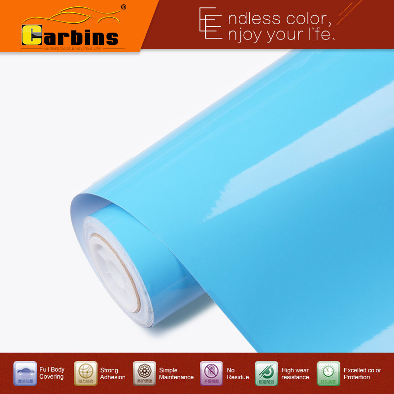 цена на Carbins high glossy vinyl sky blue car sticker vinyl wraps premium quality guarantee!