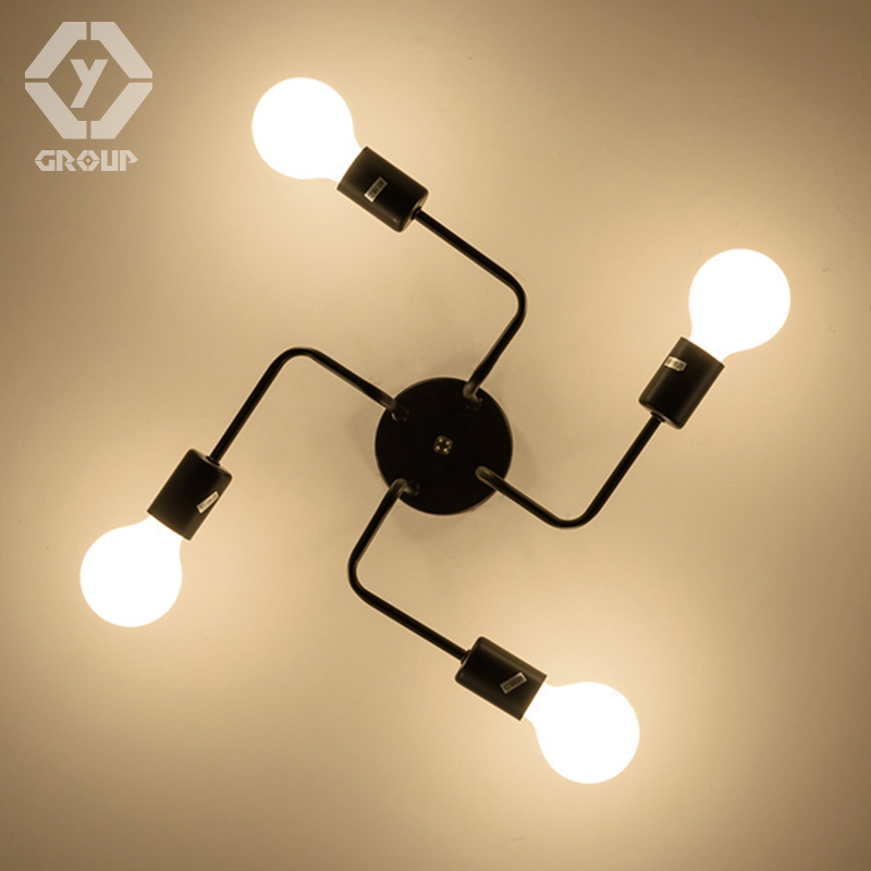 Retro Industrial Loft Nordic Pipe Wrought Iron Ceiling Light Lustre 4 Heads Lamp for Home Decor Restaurant Dinning Cafe Bar Room industrial retro iron pendant lamp bar cafe restaurant e27110v 220v for decor wrought iron loft vintage hanging lights