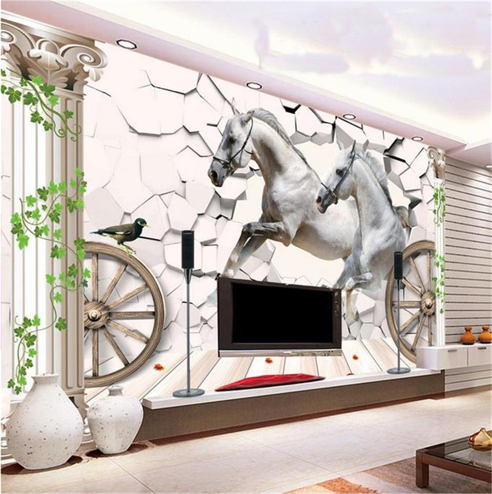 Custom Mural Photo 3d Wallpaper Living Room Horse Stone Wall Rome Column Painting TV Background Non-woven Wallpaper For Wall 3d