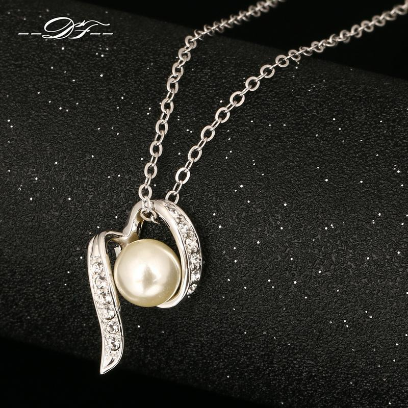 DFN206 Simulated Pearl Beads Cubic Zirconia White Gold Pated Necklaces &Pendants Fashion Jewelry For Women Crystal colares joias
