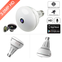 24pcs LED 3MP Bulb Light IP Camera Wi Fi 360 Degree Bulb Wi Fi Camera Panoramic