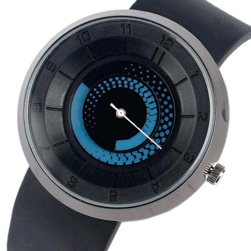 Creative Rotation Dial Black Rubber Band Strap Men Quartz Wrist Watch Fashion Business Style Turntabble Pattern Women Male Watch стоимость