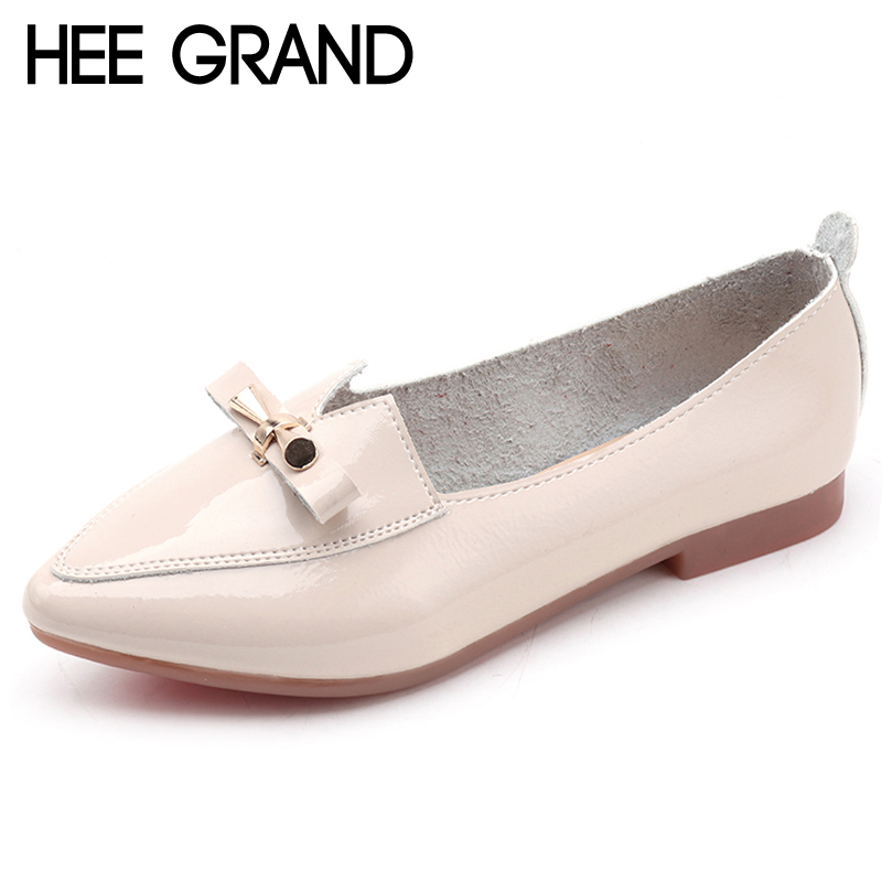 HEE GRAND Bowtie Brogue Platform Women Pumps With Pu Patent Leather Shoes Woman Pointed Toe Lace up Loafers Women Shoes XWD6858 xiuningyan fringe oxfords british style carved flats brogue shoes woman patent leather pointed toe platform pu shoes for women