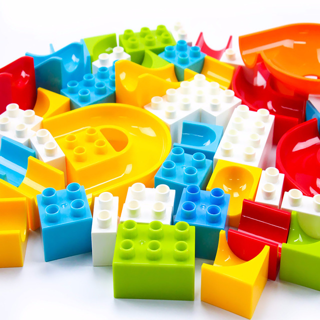 104-208PCS Marble Race Run Maze Ball Track Building Blocks Plastic Funnel Slide Big Size Bricks Compatible Legoingly Duplo Block