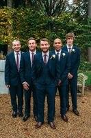 2017 New Custom Made Dark Navy Blue Groom Tuxedos 3 Piece Groomsman Suit Mens Wedding Suits