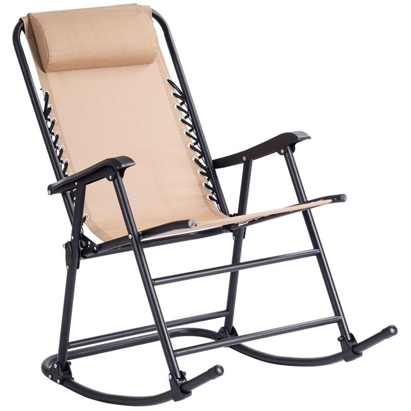 Outdoor Garden Furniture Ergonomic Patio Headrest Folding Zero Gravity Rocking Chair OP3564