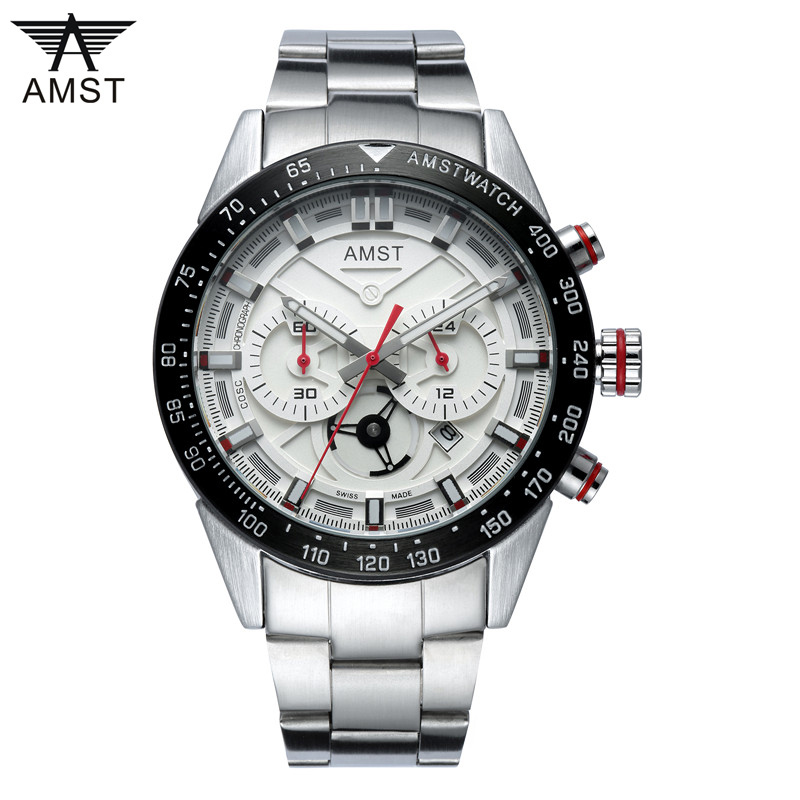 shop 2019 Brand Luxury Full Stainless Steel Watch Men Business Casual Quartz Watches Military Wristwatch Waterproof Relogio AMST with crypto, pay with bitcoin