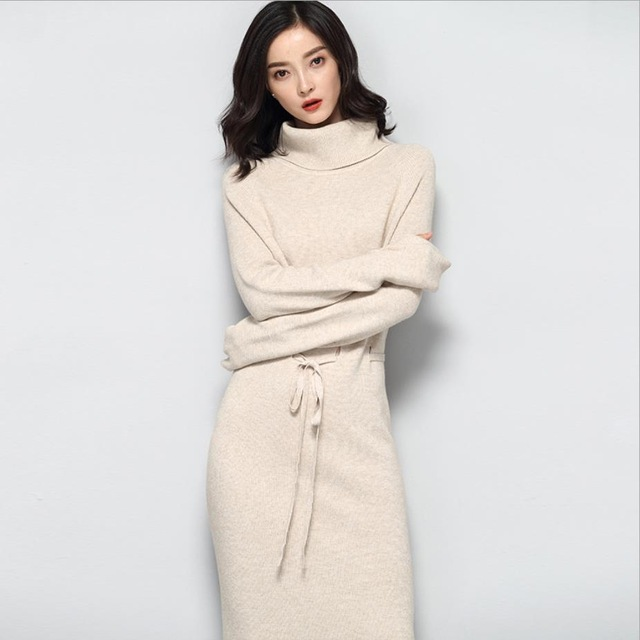 Knitted Dress Women Slim Casual Autumn Winter Long Sleeve Thicken Warm turtleneck Sweater Dresses