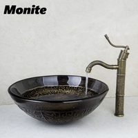 Washbasin 2014 Tempered Glass Hand Painted Waterfall 424096006 Lavatory Bathroom Sink Bath Combine Brass Faucets Mixers