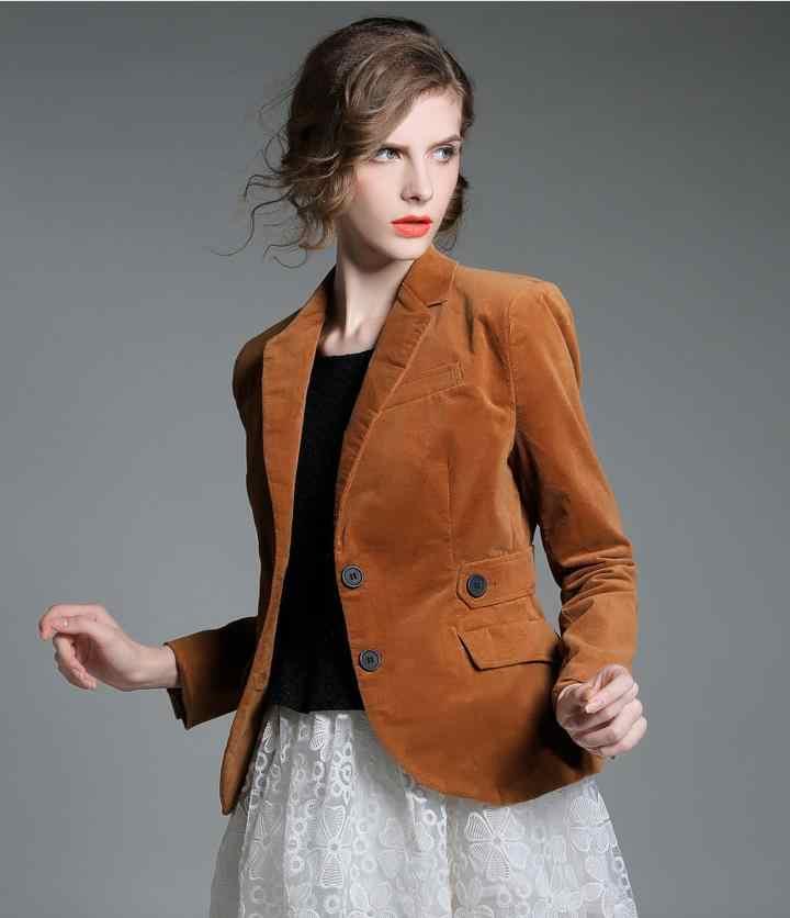 de Chaqueta de pecho de de talla solo pana de grande marca un trajes moda abrigo mujer de blazer rxQoBWdCeE