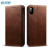 GXE New Fashion Luxury Genuine Leather Magnet Flip Case For IPhone X 10 Wallet Coque Silicone