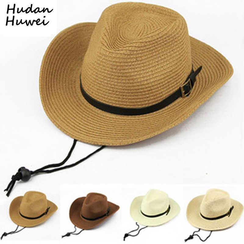 3e37738a Sombreros de vaquero de paja de papel de verano para hombres y mujeres,  gorras plegables