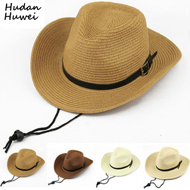 aff779a391f3c Summer paper Straw Cowboy Hats for Men Women Children Foldable panama cap  Beach Sunhat Wide Brim Cowboy Cowgirl Formal Hat GH-42