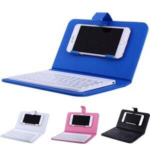 Image 1 - Przenośna, skórzana, bezprzewodowa obudowa na klawiaturę dla iPhone ochronny telefon komórkowy z klawiaturą Bluetooth dla IPhone 6 7 Smartphone