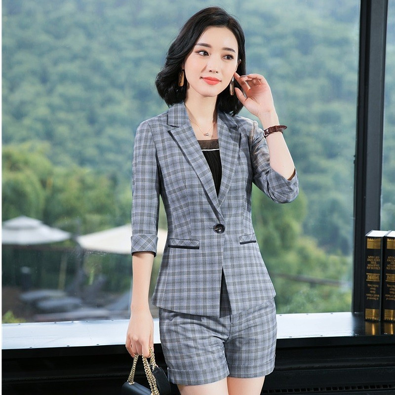 Formal Women Business Suits With Shorts And Jackets Coat Spring Summer OL Styles Professional Pantsuits Blazers Fashion Plaid