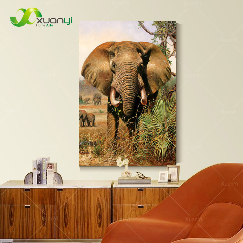 Elefante africano Pintura sobre tela pared arte cuadro pintura ...