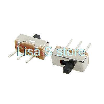 50 Pcs 3mm High Knob 3P 2 Position 1P2T SPDT Vertical Slide Switch 0.5A 50V DC