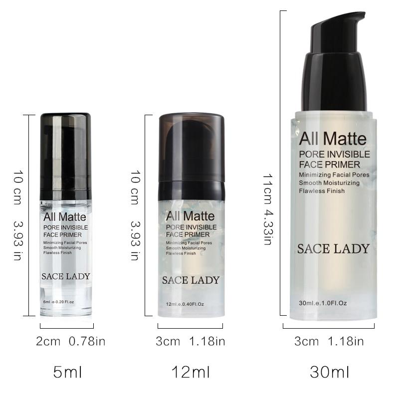SACE LADY 30/12/6ml Matte Blur Gel Primer Invisible Pore Face Primer Brighten Foundation Oil Control Base Cream Praimer TSLM1