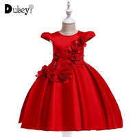 Red Princess Dress with Rose Flower Girls Party Dress Kids Tutu Dresses for Girls Solid Color Ball Gown for Festival Birthday
