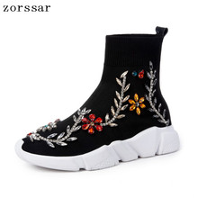 {Zorssar} Plus Size 34-44 Popular Young Women Boots Fashion Rhinestone Sneaker Womens Flat Ankle Stretch Socks 2019 Spring