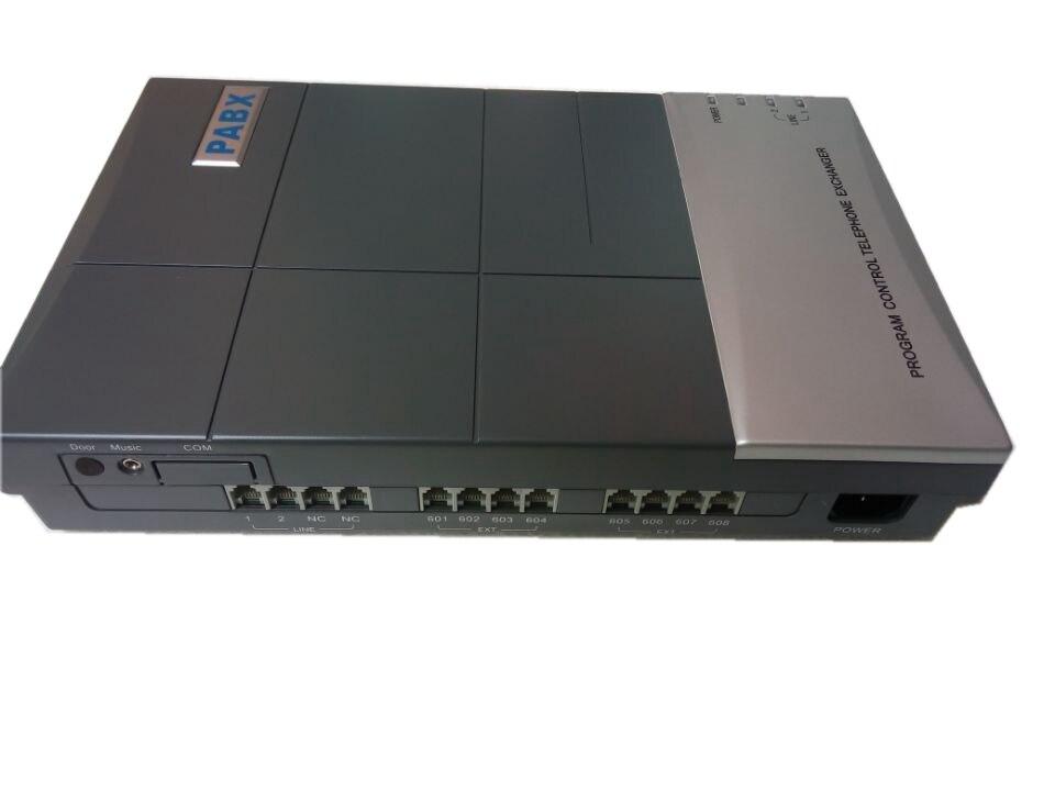 208CS téléphone mini pbx système/commutateur téléphonique 2 lignes + 8 ports de téléphone de sortie