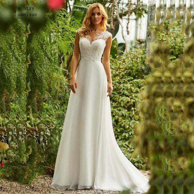Boho Wedding Dress O Neck Appliques Lace Vintage Princess Wedding Gown Chiffon Skirt Beach Bride Dress 2020 Hot Robe De Mariee