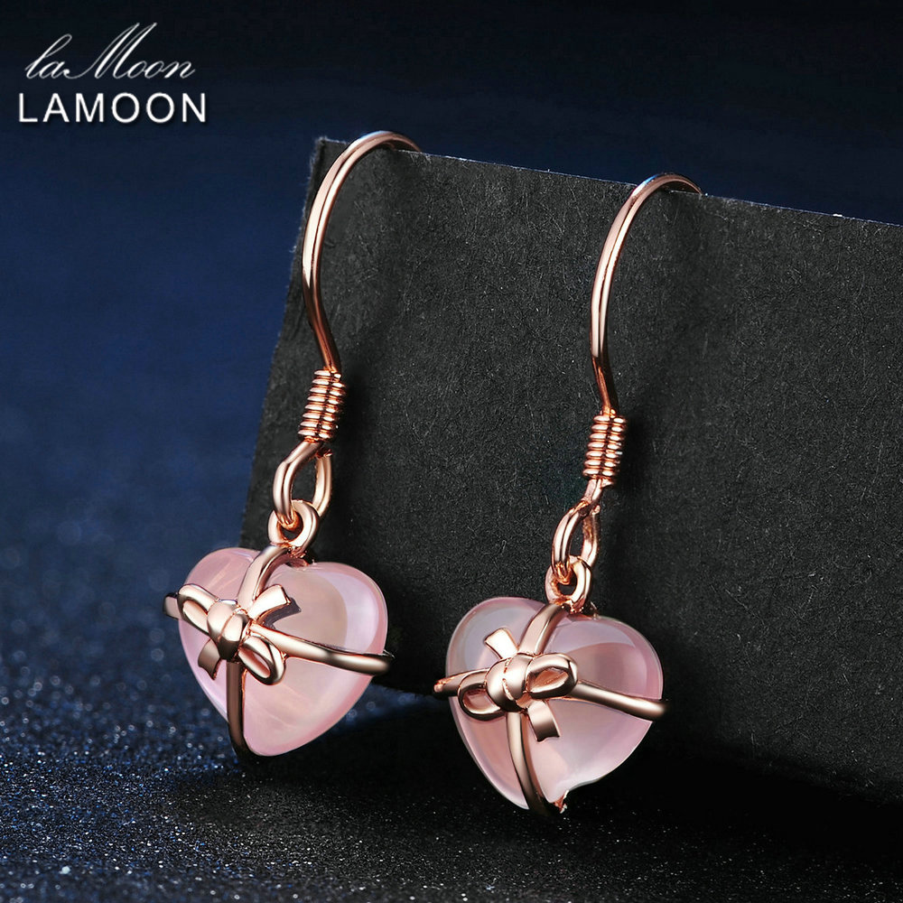 LAMOON Fine Jewelry Natural Heart Pink Rose Quartz Drop Earrings 925 Sterling silver jewelry Love Valentine