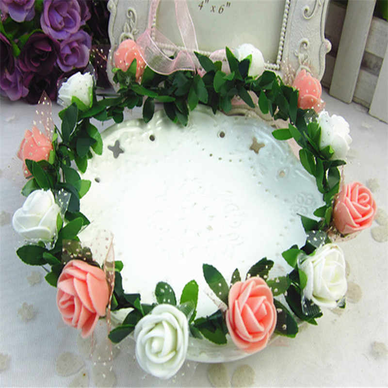 Модная Роза гвоздики Пион цветок Halo Свадебная Цветочная Корона повязка для волос венок мята голова венок свадебный головной убор подружки невесты