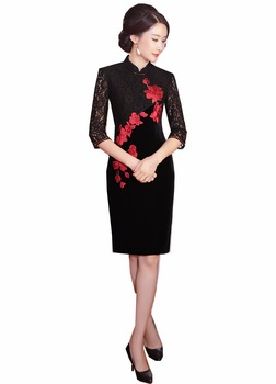 Shanghai Story Velvet Qipao Chinese traditional dress Half Sleeve Lace Cheongsam dress Knee Length Oriental Dress