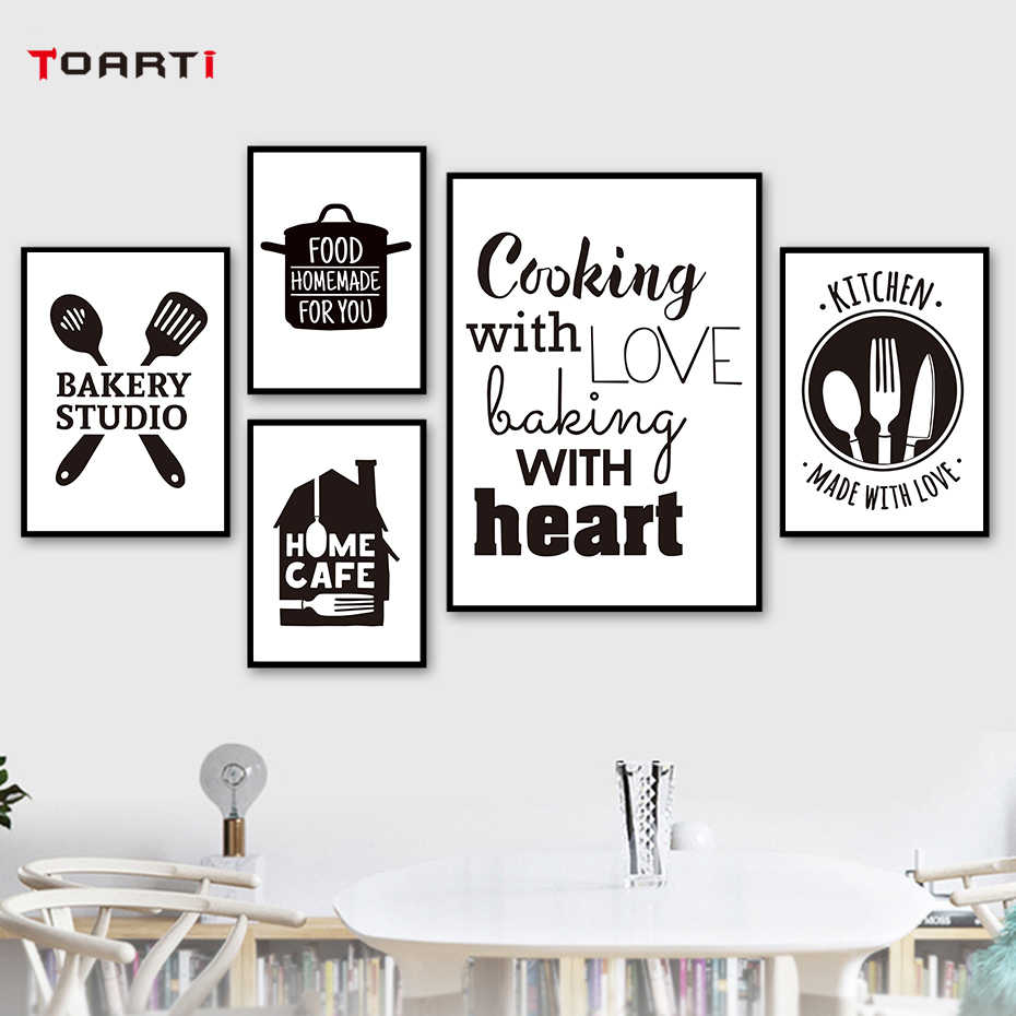 Kitchen Inspiring Quotes Wall Art Pictures Black&White Mural Canvas Painting Vintage Poster Nordic Prints Dining Room Home Decor