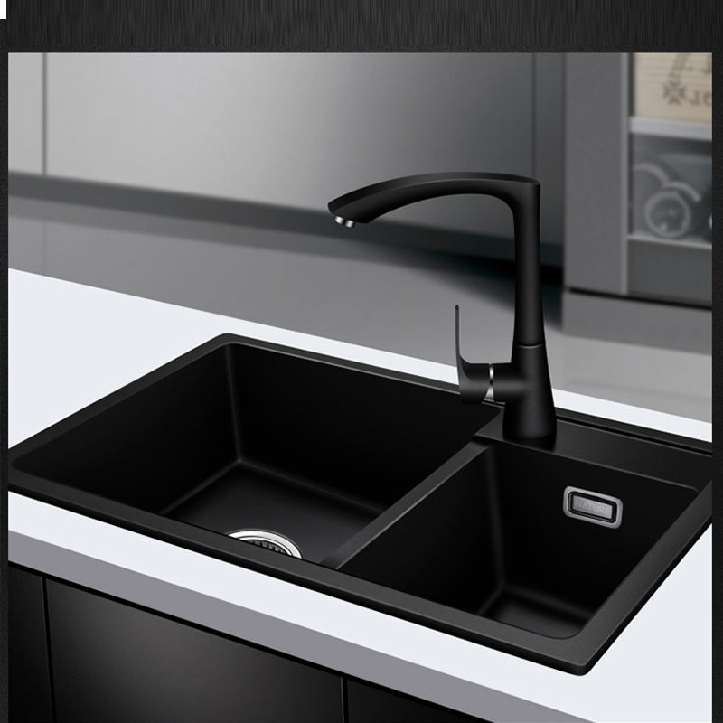 Quartz kitchen sink free shipping double groove double bowl 7 3 workwithnaturefo
