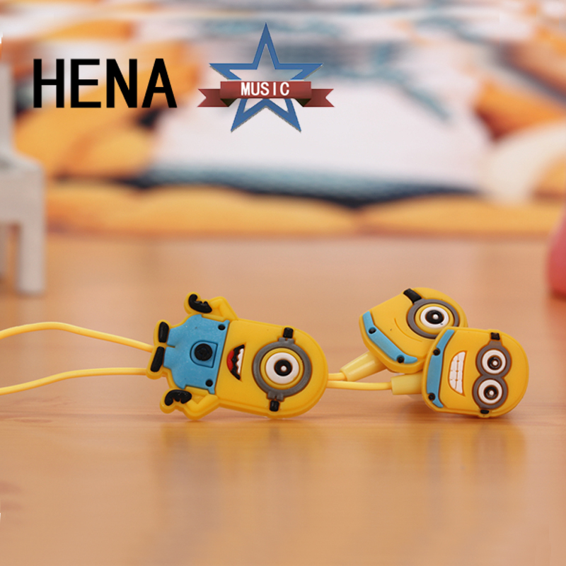 HENA With Package Despicable Me Minions Earphone Cartoon In-ear Wired 3.5 mm Earphone for MP3 Mobile Phone With 3 Free Ear Cup hot npk reborn dolls 22 soft silicone reborn babies sleeping dolls for children gift bebe girl reborn bonecas