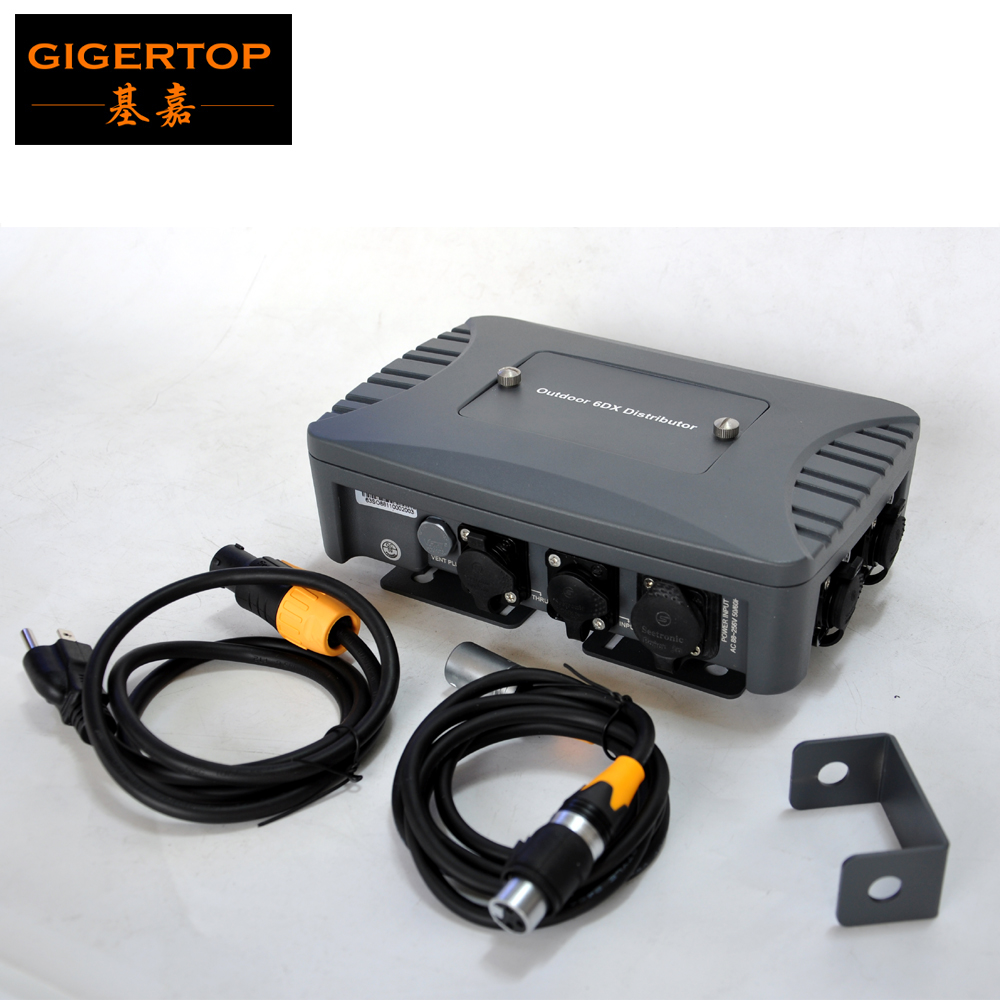 Gigertop TP-D1363 Waterproof 6 Way DMX Spliter With Seestronic Waterproof Power DMX Cable With Plug Good Quality