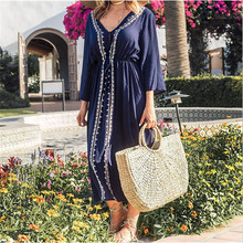 Plus Size Kaftan Cotton Tunic Beach Dress Swim Wear Bathing Suit Cover Up Women Summer Beachwear pareos Robe de plage sarongs