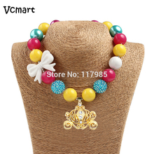 Vcmart 2Pcs Sweet Pumpkin Carriage Queen Chunky Necklace Girls Princess Yellow Bubbelgum Necklace Infant Jewelry