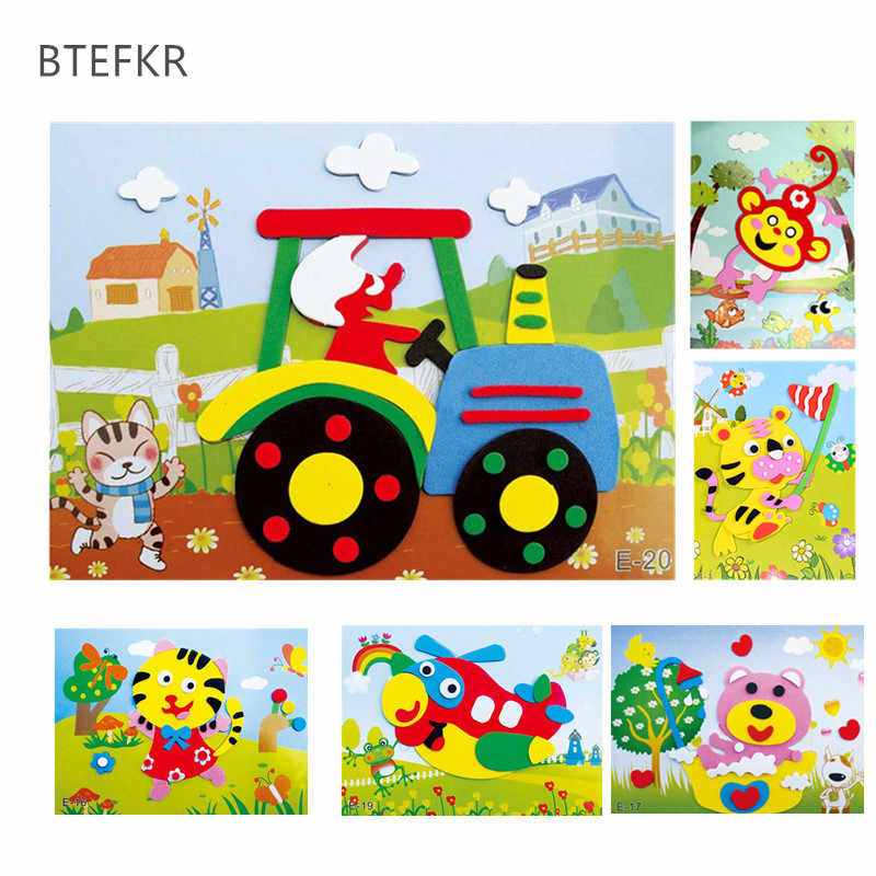 FAI DA TE Cartone Animato Animale 3D EVA Foam Sticker 20 disegni Serie Di Puzzle Early Learning Education Giocattoli per I Bambini