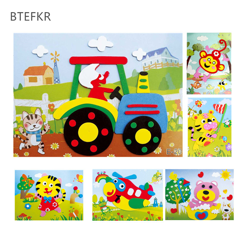DIY Cartoon Animal 3D EVA Foam Sticker 20 designs Puzzle Series Early Learning Education Toys for Children kids girl diy cartoon animal 3d eva foam sticker puzzle toys learning