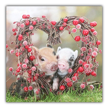 Two love pigs 5D paint diamond DIY needle cross embroidery party / round home decoration wall stickers pendant