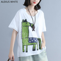 Horse Print Cotton Linen T Shirt Women 2017 Summe Short Sleeve Tops Female Casual Loose T
