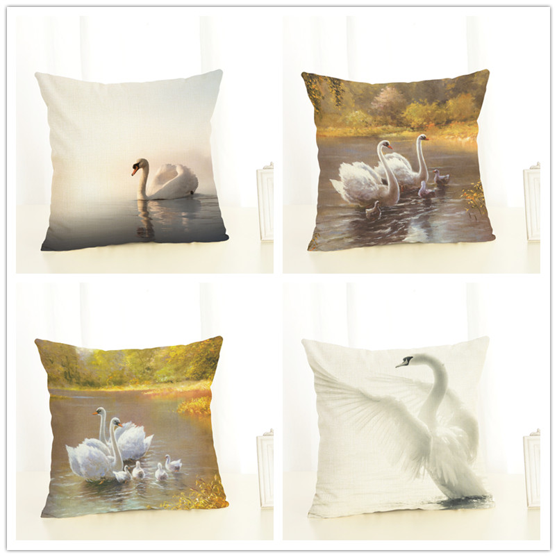 High Quality Car Printed Cotton Linen Blackout Curtain: Home Decor Animal White Swan Printed High Quality Cotton