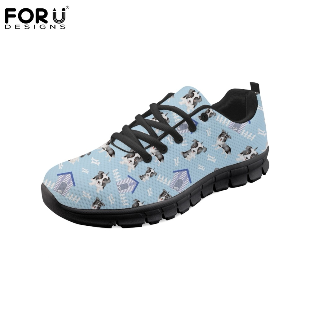 FORUDESIGNS Lovely Puppy Dog Pattern Flats Shoes Women Fashion Women's Casual Sneakers Shoes Woman Lacing Comfortable Zapatos